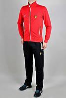 Спортивный костюм Пума, мужской костюм Puma, красная кофта, черные штаны, трикотажный