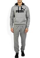 Спортивный костюм Пума, мужской костюм Puma, серый кенгуру, трикотажный