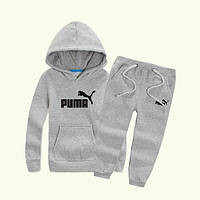 Спортивный костюм Пума, мужской костюм Puma серый, трикотажный