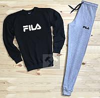 Спортивный костюм Фила, мужской костюм Fila черный и серый, трикотажный