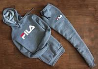 Тонкий спортивный костюм Fila серый кенгуру, хлопковый