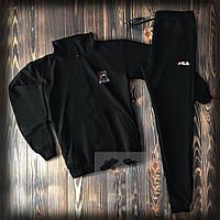 Тонкий спортивный костюм Fila черный