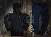 Тонкий спортивный костюм FILA черный и темно-синий