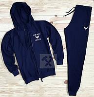 Тонкий спортивный костюм Armani темно-синий
