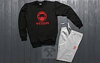 Тонкий спортивный костюм Venum черный с синим
