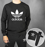Тонкий спортивный костюм Adidas черный