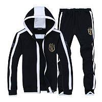 Тонкий спортивный костюм Армани, черный костюм, с капюшоном, с белым