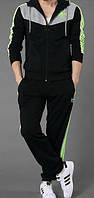 Тонкий спортивный костюм Adidas, черная кофта с серым верхом, черные штаны, с лампасами Адидас