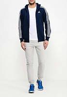 Тонкий спортивный костюм Adidas, темно-синий верх, белые штаны, с лампасами Адидас