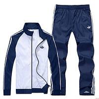 Тонкий спортивный костюм Adidas, белое туловище, темно-синие рукава, темно-синие штаны, с лампасами Адидас