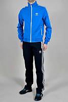 Тонкий спортивный костюм Adidas, голубая кофта, черные штаны, с лампасами Адидас