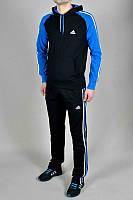 Тонкий спортивный костюм Adidas, черные туловище, синие рукава, черные штаны, с лампасами Адидас