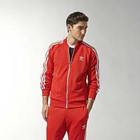 Тонкий спортивный костюм Adidas, красный костюм, с лампасами Адидас