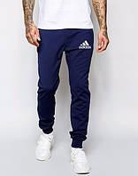 Спортивные штаны Адидас, штаны мужские Adidas, темно-синие, трикотажные, с манжетом
