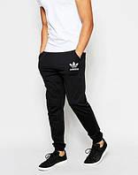 Спортивные штаны Адидас, штаны мужские Adidas, черные, трикотажные, с манжетом