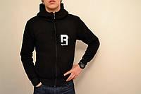 Мужская толстовка Рибок, спортивная кофта Reebok, черная, трикотажная, с капюшеном, кенгуру