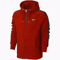 Мужская толстовка Найк, спортивная кофта Nike, красная, трикотажная, с капюшеном, кенгуру
