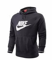 Мужская толстовка Найк, спортивная кофта Nike, серая, трикотажная, с капюшеном, кенгуру