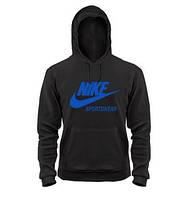 Мужская толстовка Найк, спортивная кофта Nike, черная, трикотажная, с капюшеном, кенгуру