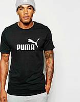 Мужская футболка Puma, спортивная футболка Пума, хлопок, черная