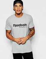 Мужская футболка Reebok, спортивная футболка Рибок, хлопок, серая