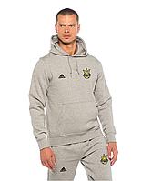 Футбольный костюм Сборной Украины, Адидас, Adidas, серый, с капюшоном
