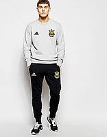 Футбольный костюм Сборной Украины, Адидас, Adidas, серый свитшот, черные штаны