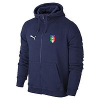 Футбольная кофта, толстовка клубная, кофта сборной Италии Пума, Italy, Puma, с капюшоном, синяя