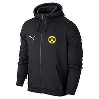 Футбольная кофта, толстовка клубная, кофта Боруссия Пума, Borussia, Puma, с капюшоном, черная