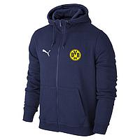 Футбольная кофта, толстовка клубная, кофта Боруссия Пума, Borussia, Puma, с капюшоном, синяя