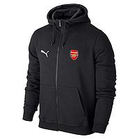 Футбольная кофта, толстовка клубная, кофта Арсенал Пума, Arsenal, Puma, с капюшоном, черная