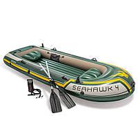 Лодка Intex 68351 SeaHawk-4 Set 351х145х43 см четырехместная надувная с вёслами