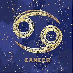 Картина по номерам, краска металик, знак зодиака Рак, 50x50 см., Идейка