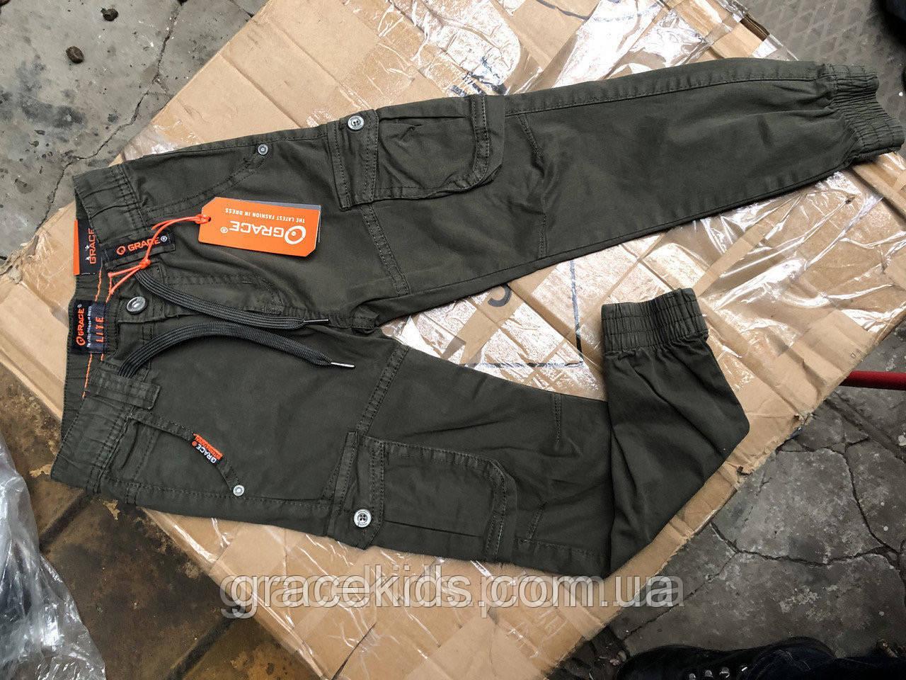 Дитячі котонові брюки джоггери з карманами GRACE,розм 116-146 см