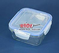 Посуд скляний герметичний 0,7 л квадратний з пластиковою кришкою Borgonovo