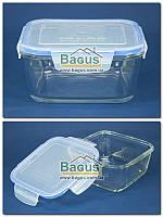 Ємність (відро) для продуктів 1,4 л 17х17см герметична квадратна, скляна з кришкою Borgonovo 14069720, фото 1