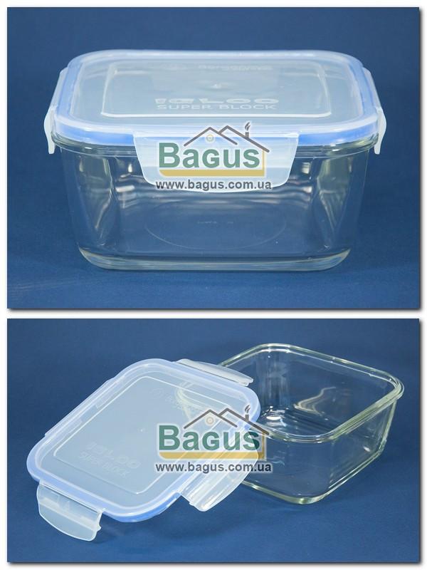 Ємність (відро) для продуктів 1,4 л 17х17см герметична квадратна, скляна з кришкою Borgonovo 14069720