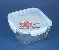 Посуд скляний герметичний 1,4 л квадратний з пластиковою кришкою Borgonovo