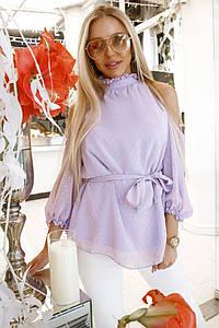 """Женская шифоновая блуза """"Suzana"""" с вырезами на плечах и поясом (3 цвета)"""