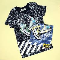 7089 Детская футболка мальчику кеды тм Glo-Story размер 140,150