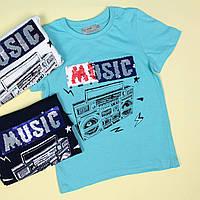 7076 Детская футболка мальчику пайетки перевертыши Musik тм Glo-Story размер 110,120,130,140,150,160