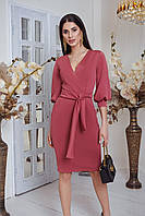 Женское платье из креп дайвинга с V-образным вырезом, рукав 3/4 и с поясом на завязке (42-48)