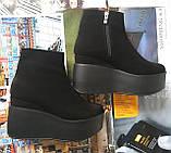 Ботинки женские на платформе из натуральной  кожи или замши демисезонные Mary, фото 8