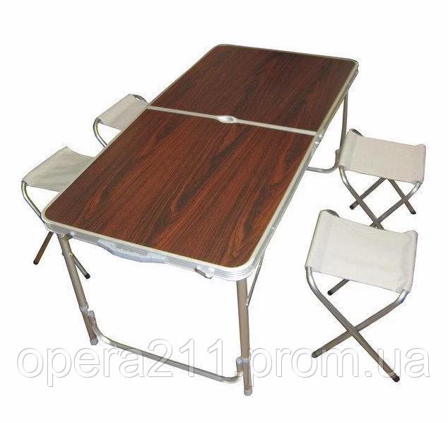 Стол для пикника усиленный с 4 стульями FOLDING TABLE (раскладной чемодан) / деревянный