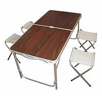 Стол для пикника усиленный с 4 стульями FOLDING TABLE (раскладной чемодан) / деревянный, фото 1