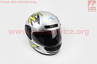 Шлем для мото скутер мопед закрытый HF-101 M- СЕРЫЙ с желто-черным рисунком Q42-Y (KUROSAWA)