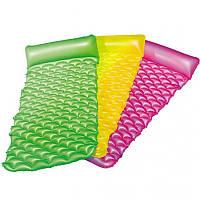 Надувной пляжный матрас с подушкой подголовником (розовый, желтый, зеленый) до 90 кг, 213 х 86 см