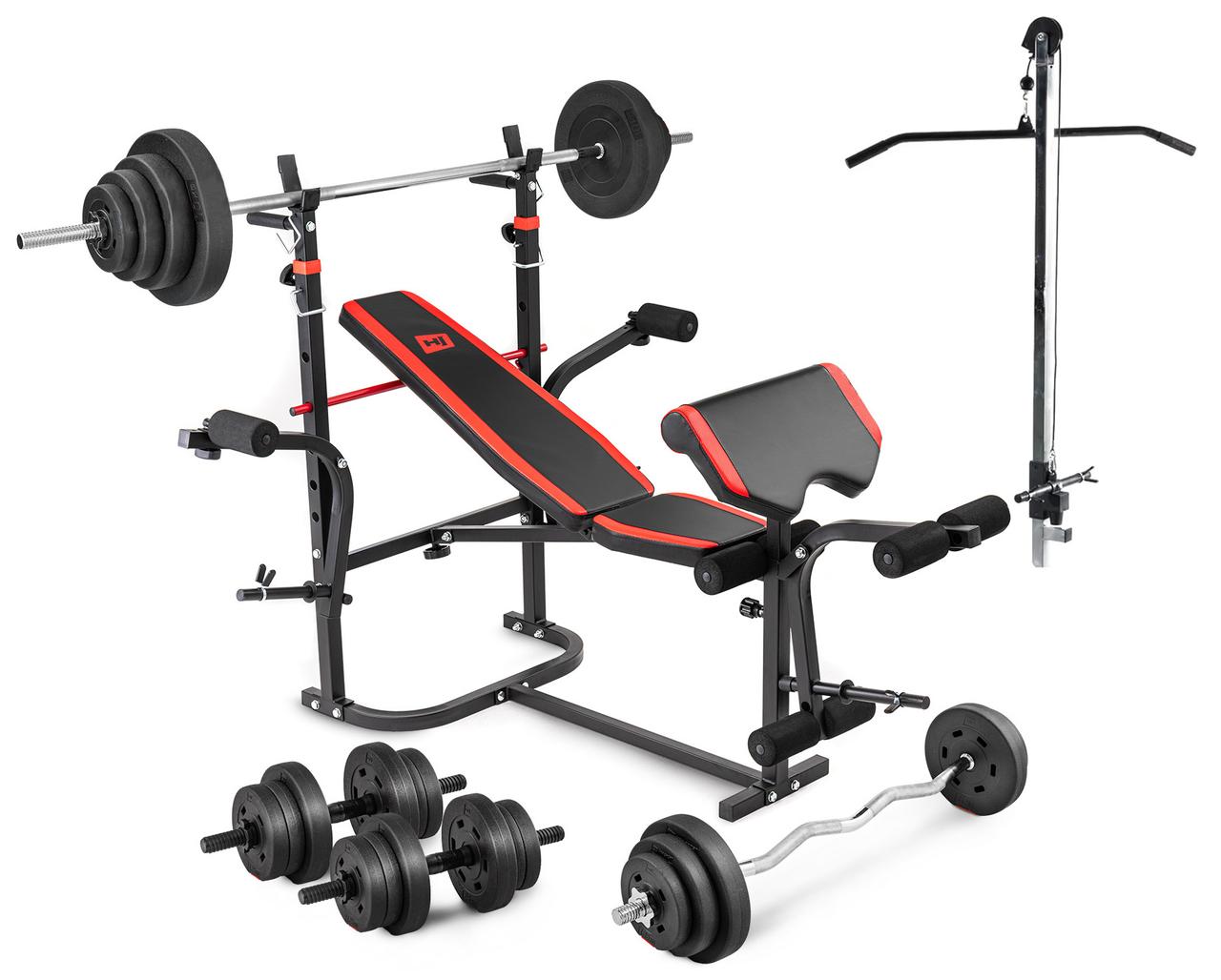 Скамья тренировочная HS-1065 +  Тяга  , Приставка стотта + Набор 60 кг