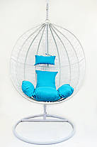 Подвесное кресло-качалка кокон B-183B (бело-голубое), фото 3