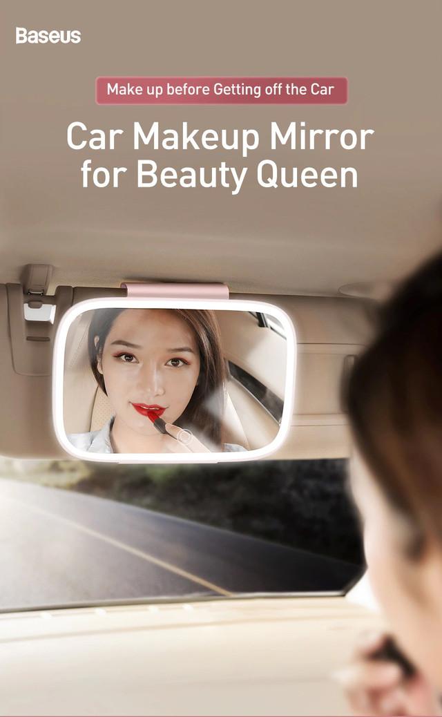зеркало на козырек с LED подсветкой Baseus Delicate Queen Car Touch-up Белое / Розовое